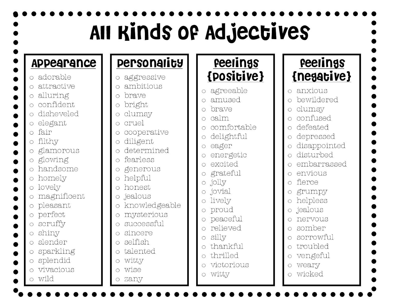 list of adjectives - 800×618